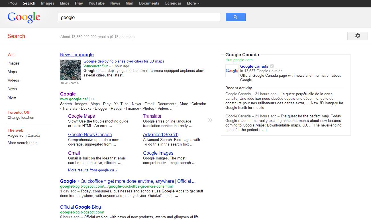 google canada knowledge graph