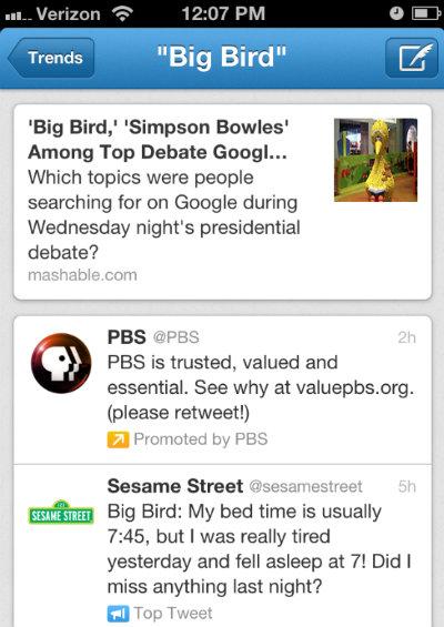 Sponsored Big Bird Tweet