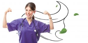 An image of a nurse (Telus Hero) in a strong pose and an illustration of a cape from her shoulders.
