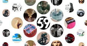 An image of Agency59's new website's home page: a circular logo surrounded by multiple of circular images of the projects Agency59 has done.
