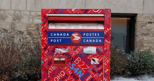 An image of a canada post mailbox.
