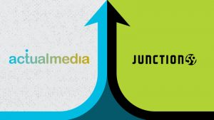 An allustraion of two arrows coming together from each side of the image. The actualmedia and Junction59 logo are shown on each side of the arrows.