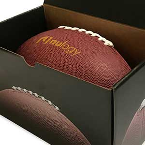 An image of Nulogy's branded box and football.