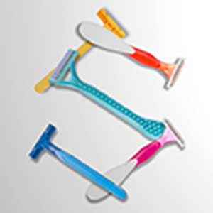 An image of colourful shaving razors in the shape of the letter S