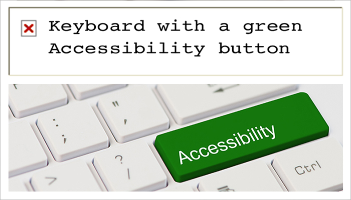 """A key board with a green Accessibility button. Banner above reads """"Keyboard with a green accessibility button""""."""
