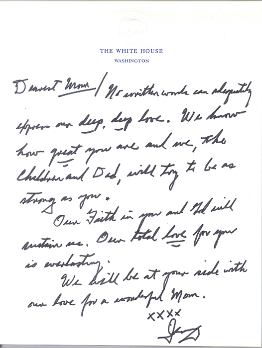 An image of President Ford's letter to his wife Betty.