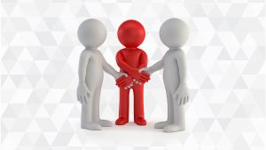 a red person shaking hands with two grey people at the same time