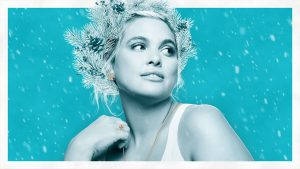 Birks Holiday Campaign - a woman wearing a crown of pine branches wearing new pieces of Birks Holiday collection