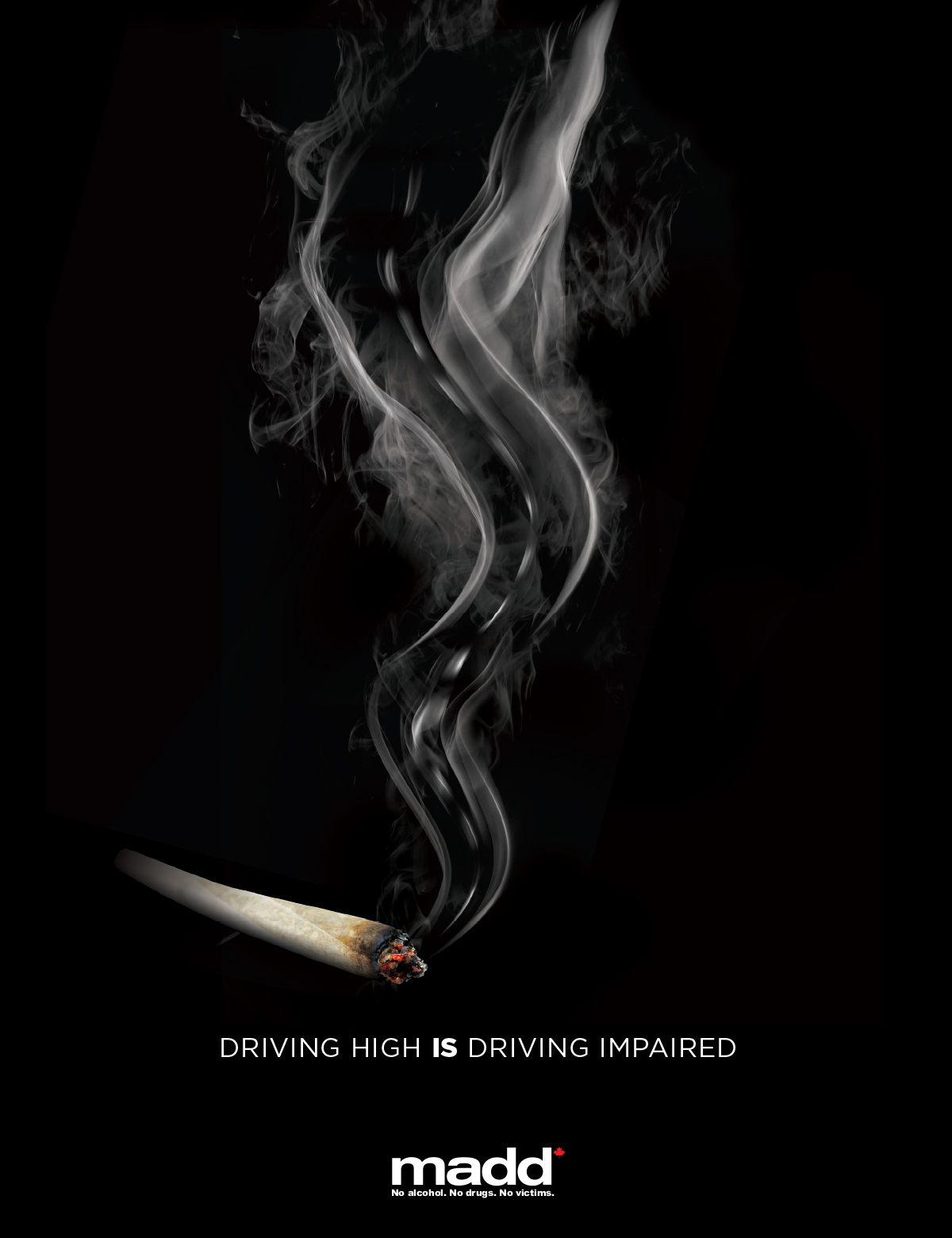MADD Up in Smoke campaign - a lit marijuana cigarette in front of a black background
