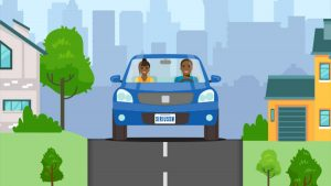 SXM Scrolling Car Campaign - an illustration of a couple in a car