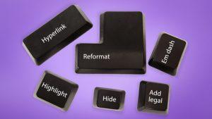 keyboard keys against a purple background