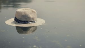 Hat floating in the water